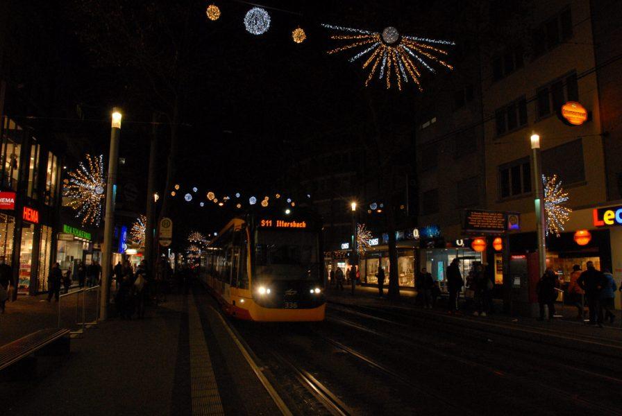 Karlsruhe main street festooned for the Christmas time